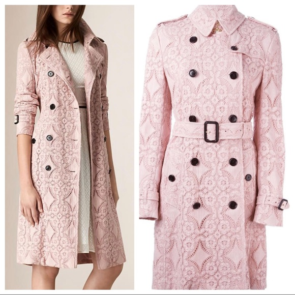 Burberry pink lace Kensington trench coat